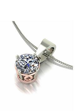 moissanite-moissanite-9ct-white-gold-1ct-eq-solitaire-pendant-necklace-with-rose-gold-setting