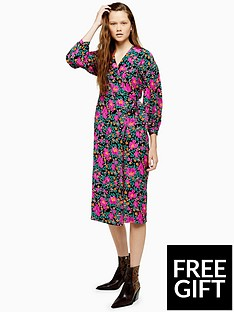 topshop-topshop-printed-wrap-midi-dress-multi