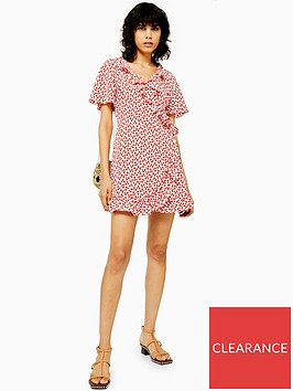 topshop-tall-ruffle-wrap-mini-dress-red