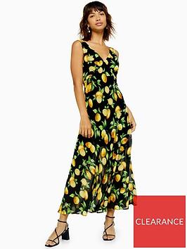 topshop-lemon-print-bias-cut-midi-dress-black