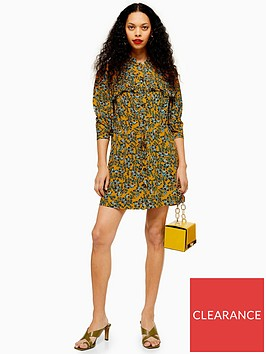 topshop-petite-pleat-mini-dress-mustard