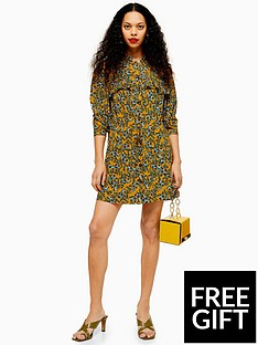 topshop-topshop-petite-pleat-mini-dress-mustard