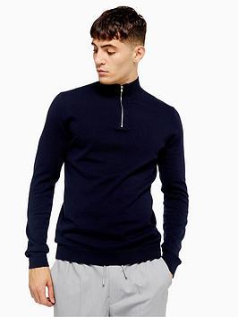 topman-topman-half-zip-knitted-jumper-navy