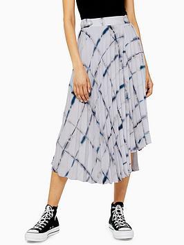 topshop-grid-tie-dye-pleated-midi-skirt-grey