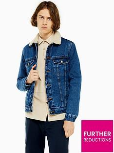 topman-topman-mid-wash-borg-denim-jacket-blue