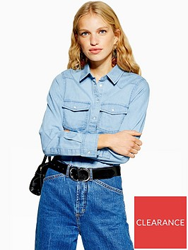 topshop-fitted-denim-shirt-blue