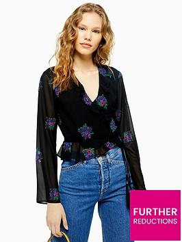 topshop-ruffle-embellished-wrap-blouse-black