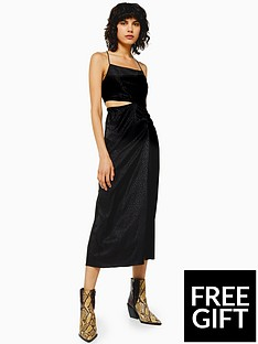 topshop-topshop-jacquard-cut-out-midi-dress-black