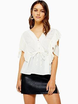 topshop-petite-dobby-button-blouse-cream