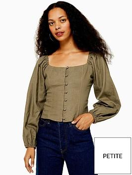 topshop-petite-button-down-prairie-blouse-khaki