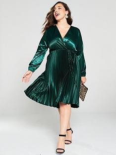 ax-paris-curve-wrap-front-pleated-skirt-dress-teal
