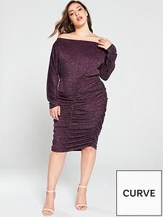 ax-paris-curve-ruched-glitter-midi-dress-plum