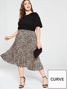 ax-paris-curve-2-in-1-animal-pleated-skirt-dress-black