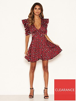 ax-paris-animal-print-puff-sleeved-dress-rednbsp