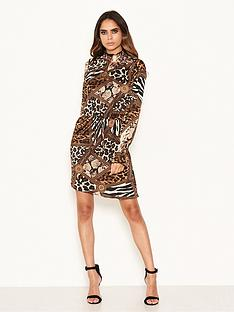 ax-paris-animal-print-high-neck-skater-dress-multinbsp