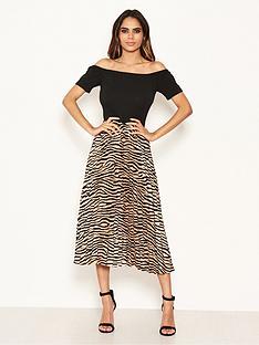 ax-paris-2-in-1-zebra-bardot-pleated-dress-blackprintnbsp