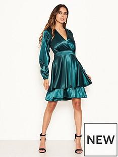 ax-paris-long-sleeved-satin-dress-greennbsp