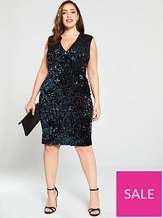ax-paris-curve-two-tone-sequin-v-front-midi-dress-black