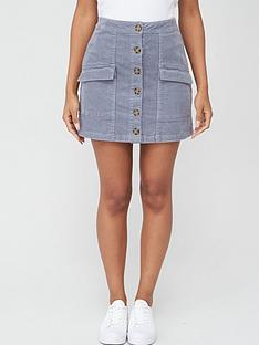 v-by-very-cord-button-front-pocket-skirt
