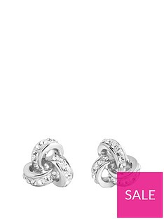 the-love-silver-collection-sterling-silver-crystal-triple-knot-stud-earrings
