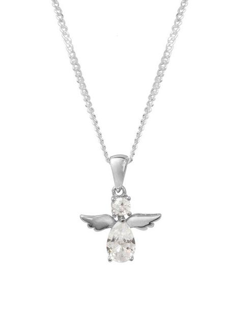 the-love-silver-collection-sterling-silver-cubic-zirconia-angel-pendant-necklace