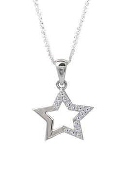 the-love-silver-collection-sterling-silver-cubic-zirconia-star-pendant-necklace