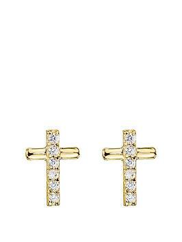 love-gold-9ct-gold-cubic-zirconia-cross-stud-earrings