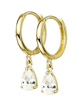 love-gold-9ct-gold-cubic-zirconia-pear-drop-hoop-earrings