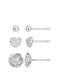 the-love-silver-collection-sterling-silver-cubic-zirconia-set-of-3-heart-and-rose-stud-earrings