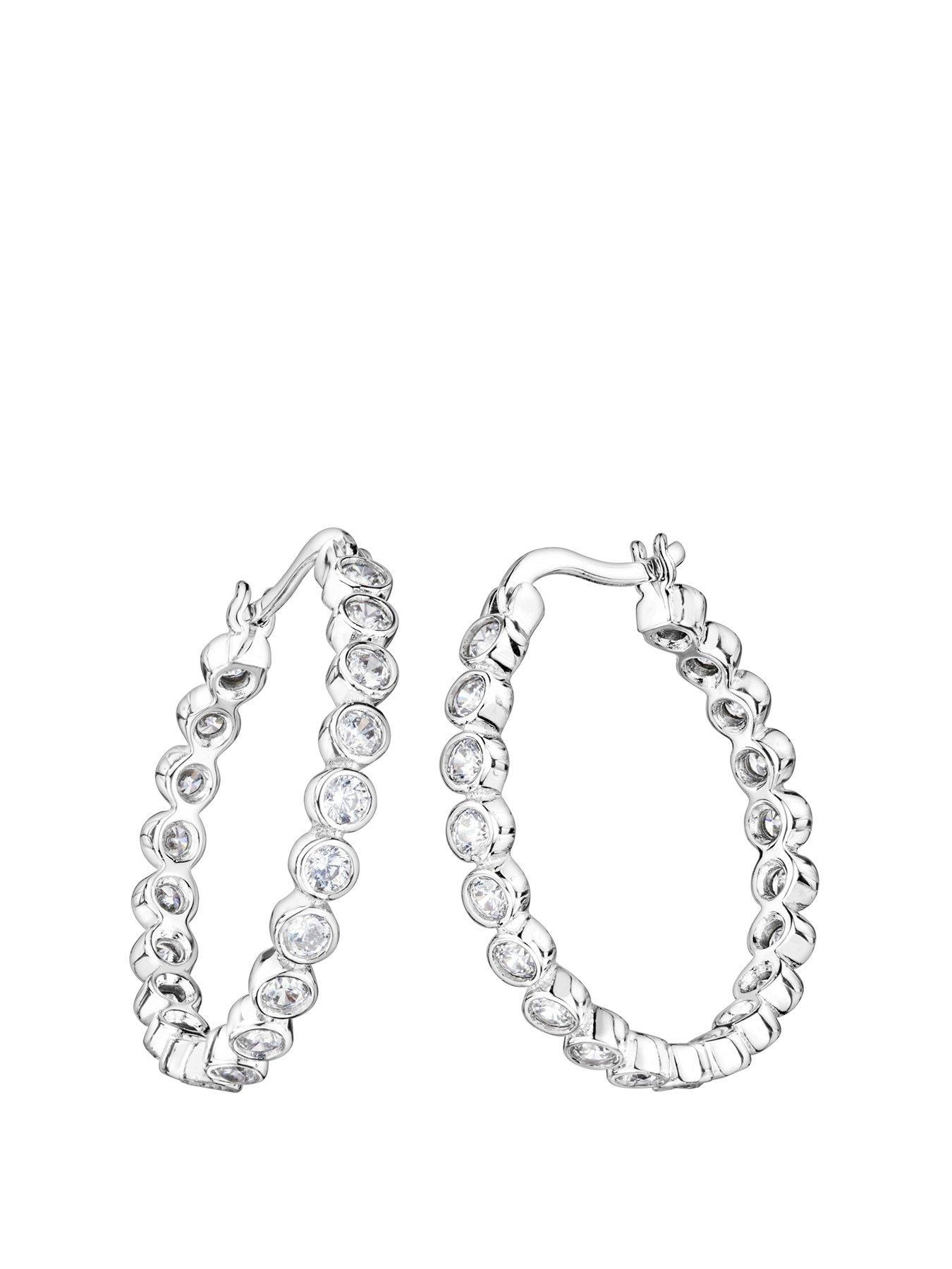 Sterling silver 925 cubic zirconia star bezel creole hoop earrings Gift box