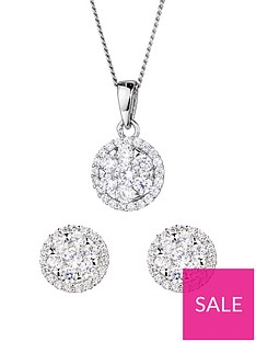 the-love-silver-collection-sterling-silver-cubic-zirconia-cluster-round-stud-earrings-and-pendant-set