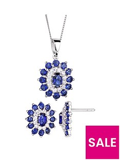 the-love-silver-collection-sterling-silver-cubic-zirconia-glass-sapphire-cluster-stud-earrings-and-pendant-set