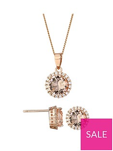 the-love-silver-collection-rose-gold-plated-sterling-silver-cubic-zirconia-glass-morganite-halo-stud-earrings-and-pendant-set