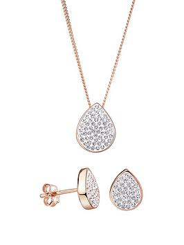 evoke-evoke-rose-gold-plated-sterling-silver-teardrop-stud-earrings-and-pendant-set