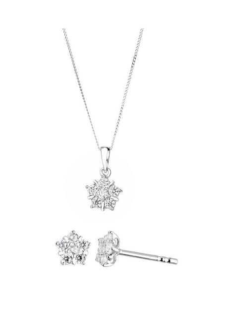 love-gold-9ct-white-gold-cubic-zirconia-flower-cluster-stud-earrings-and-pendant-set