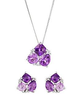 love-gem-9ct-white-gold-diamond-set-graduated-3-stone-amethyst-stud-earrings-and-pendant-set