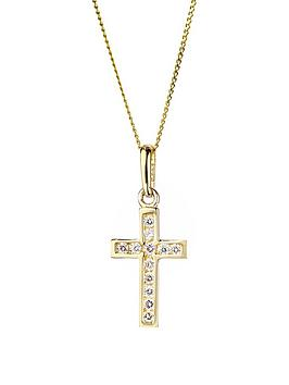 love-gold-9ct-gold-cubic-zirconia-cross-pendant-necklace