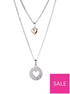 love-diamond-sterling-silver-and-rose-gold-set-of-two-diamond-set-heart-pendant-necklaces