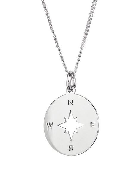 the-love-silver-collection-sterling-silver-compass-disc-pendant-necklace