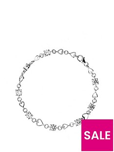 the-love-silver-collection-sterling-silver-cubic-zirconia-heart-link-bracelet