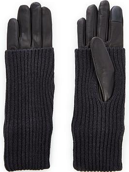 allsaints-knit-cuff-leather-gloves-black
