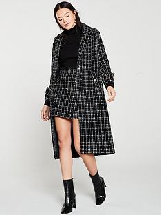 mango-mono-check-long-coat-black
