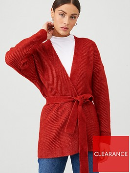 mango-belted-knitted-cardigan-dark-red