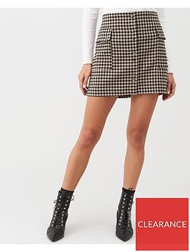 mango-button-front-check-skirt-black