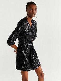 mango-sequin-belted-tux-dress