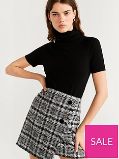 mango-wrap-button-tweed-skirt-black
