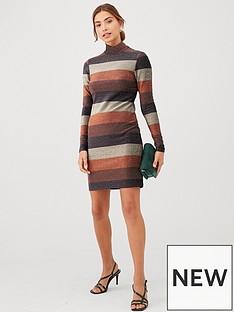 v-by-very-lurex-stripe-high-neck-dress-bronze