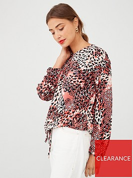 v-by-very-multi-animal-high-neck-jersey-top-red