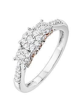 love-diamond-9ct-white-gold-23-point-diamond-cluster-trilogy-ring-with-rose-gold-heart-detail