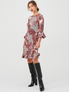 v-by-very-animal-print-flute-sleeve-dress-red